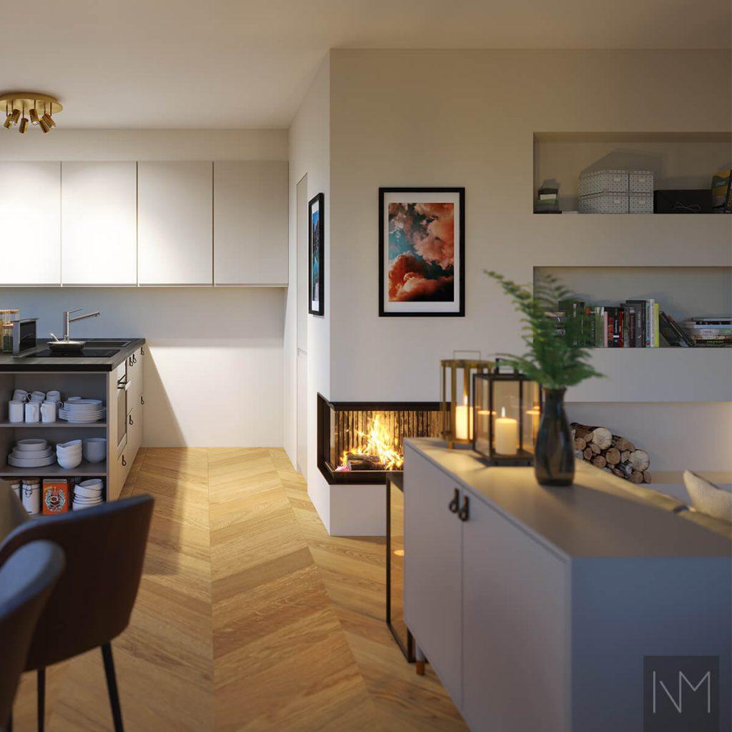 Ideen für die Inneneinrichtung des Wohnzimmers - Einrichtung eines Wohnzimmers mit Kamin