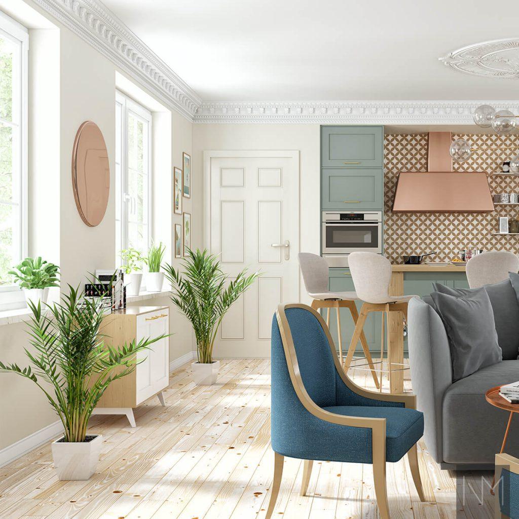 Küchendesign-Ideen -Texturen an den Wänden