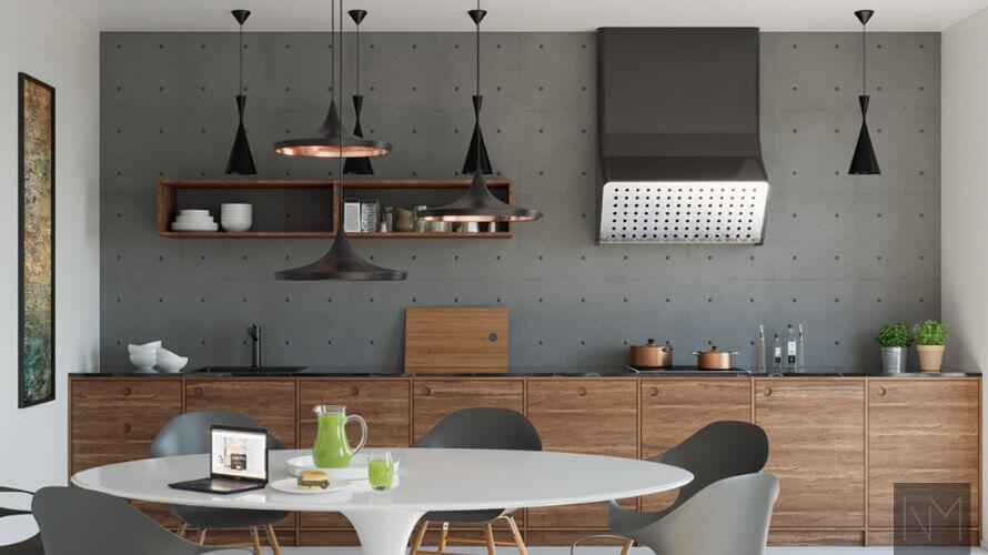 Holzküche mit Esstisch