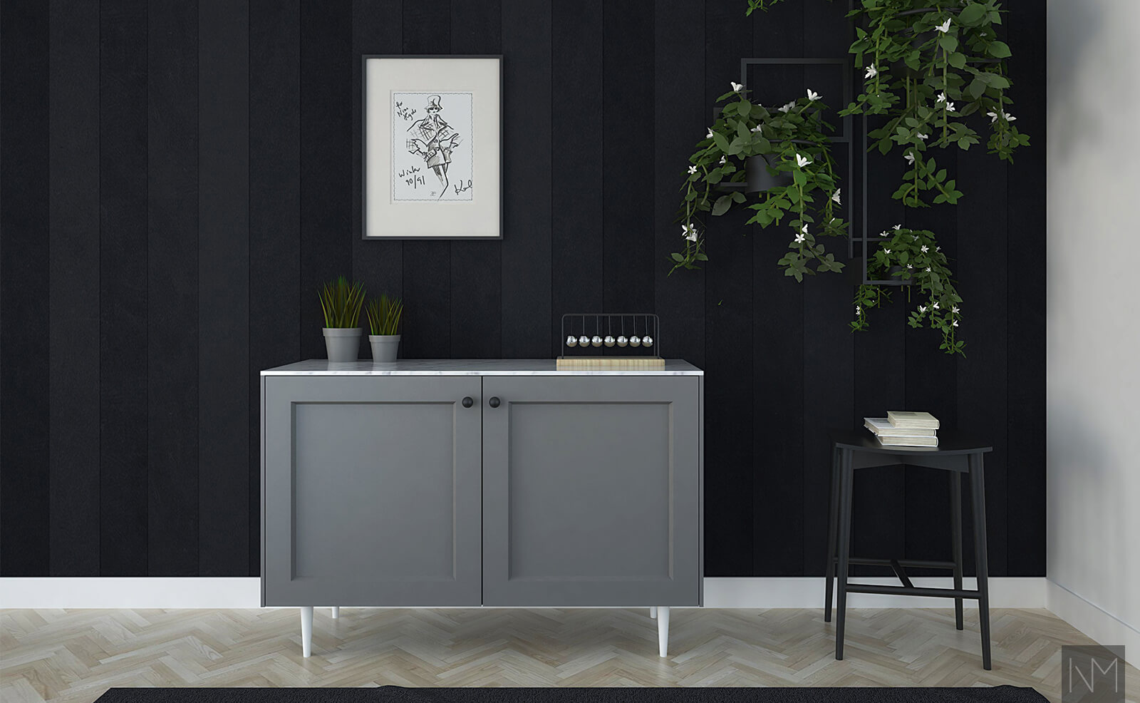 Striped black wallpaper with grey cabinet
