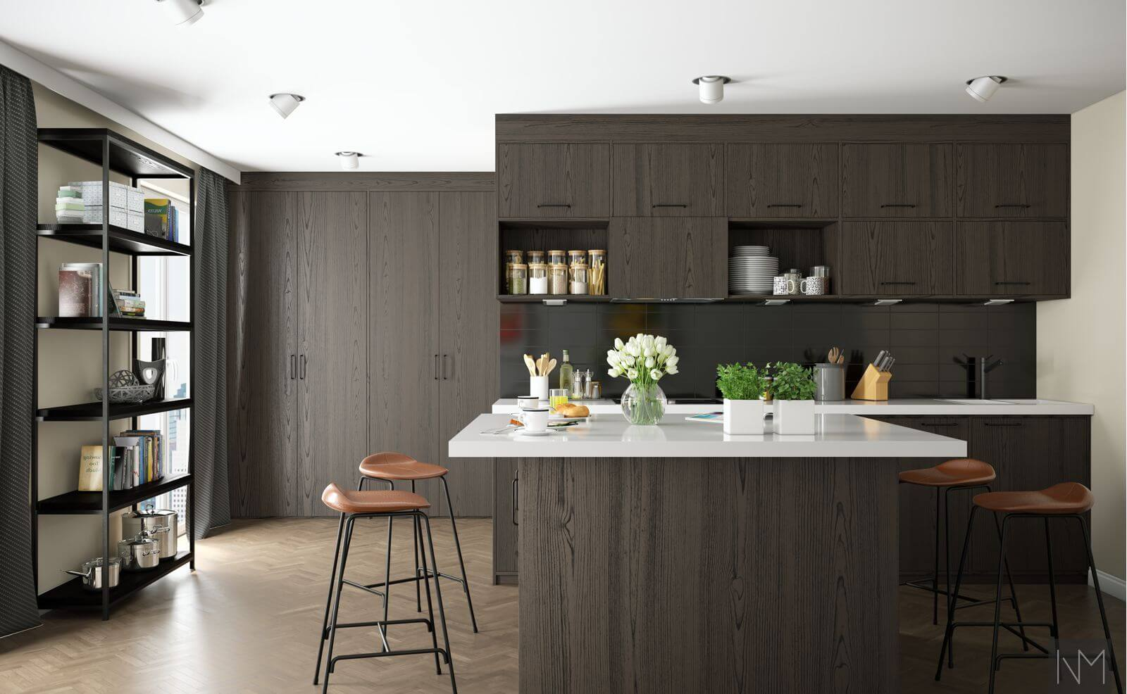 GAL-Kitchen fronts in ash veneer BEISET -CHARCOAL COLOR