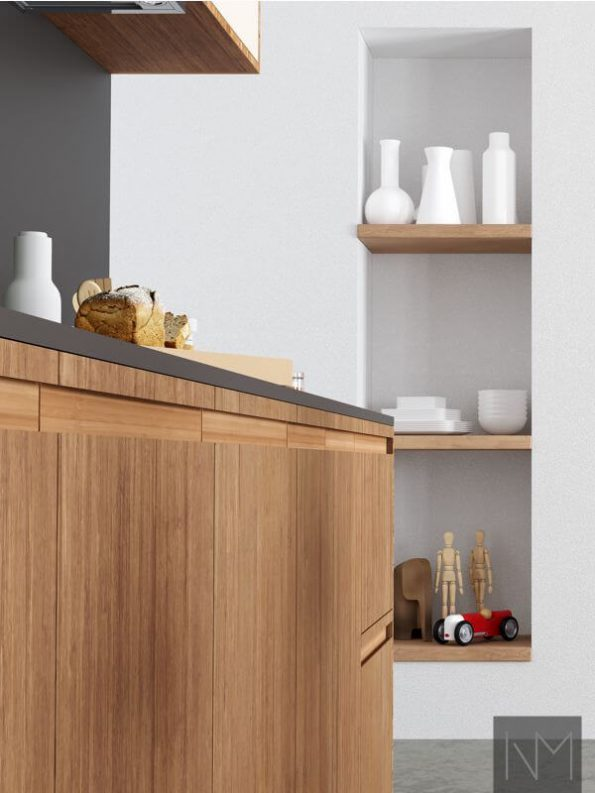 Inline Bamboo kitchen fronts with moulded finger pulls