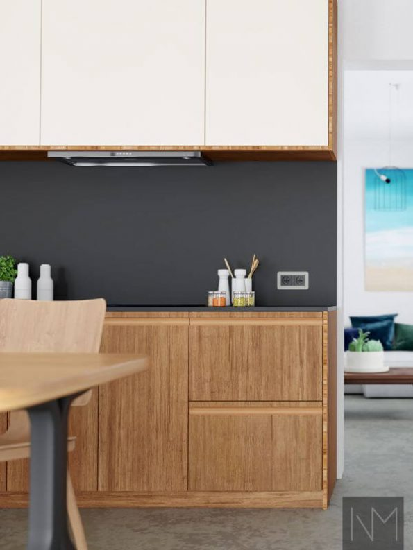 Inline kitchen fronts in compressed bamboo