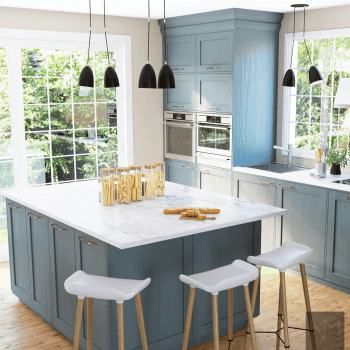 Kitchen With blue cabinets and white marble island