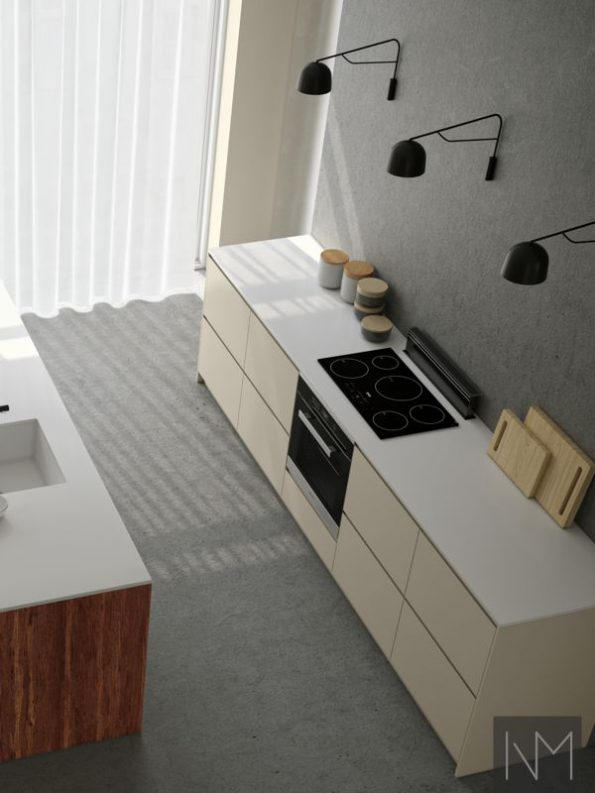 Kitchen fronts in Bamboo+ Instyle design in Mocca and Instyle design in Jotun Smooth white (2)
