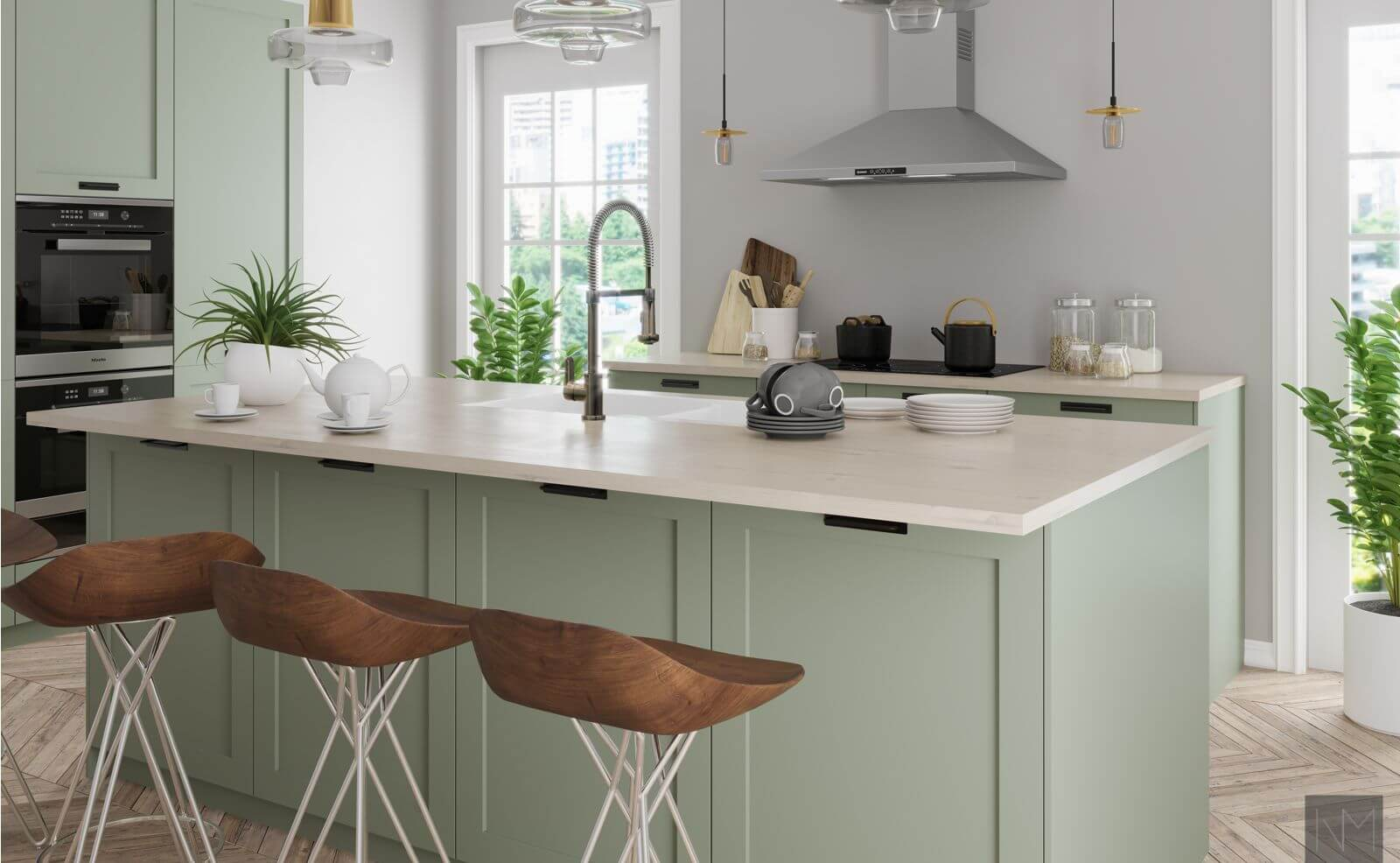 Kitchen doors in ANTIQUE GREEN 7629. NCS 4708-G34Y