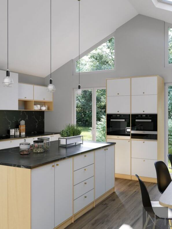 low hanging lights in white slanted kitchen