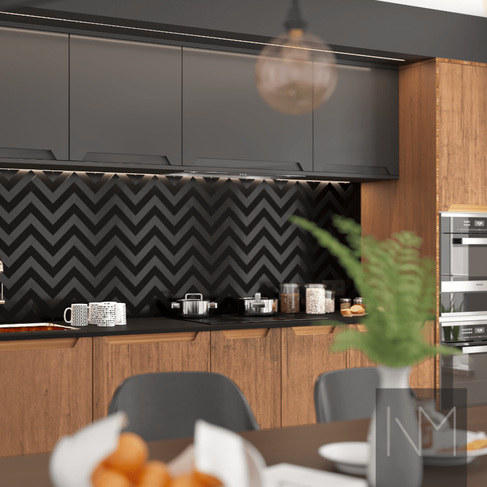 bright modern kitchen with zigzag feature wall