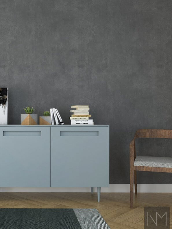 dusky blue cupboards with books and plants