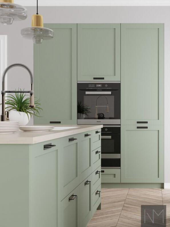 Kjøkkenfronter i classic style design i fargen ANTIQUE GREEN 7629. NCS 4708-G34Y