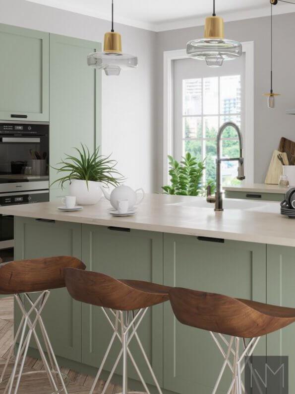 Kjøkkenfronter i fargen ANTIQUE GREEN 7629 fra JOTUN