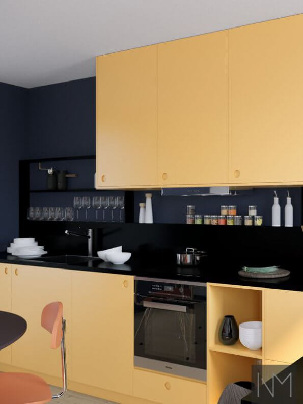 Kjøkkendører i design circle i fargen Farrow & Ball. Sudbury Yellow