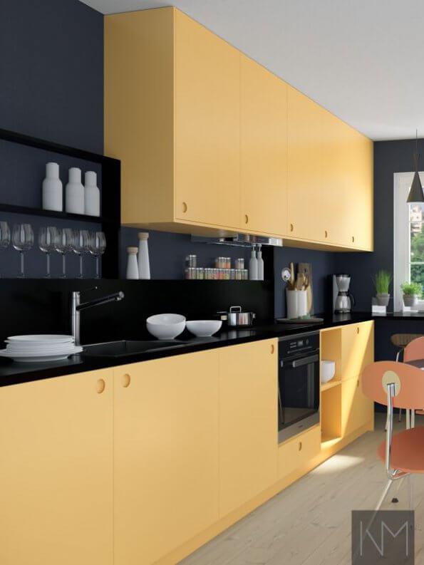 Kjøkkenfronter i design circle i fargen Farrow & Ball. Sudbury Yellow