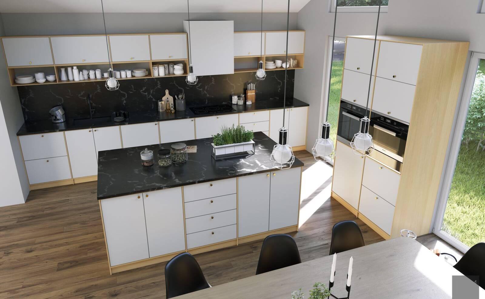 Kjøkkenfronter i BASIC design i klassisk hvit , NCS S0500-N.