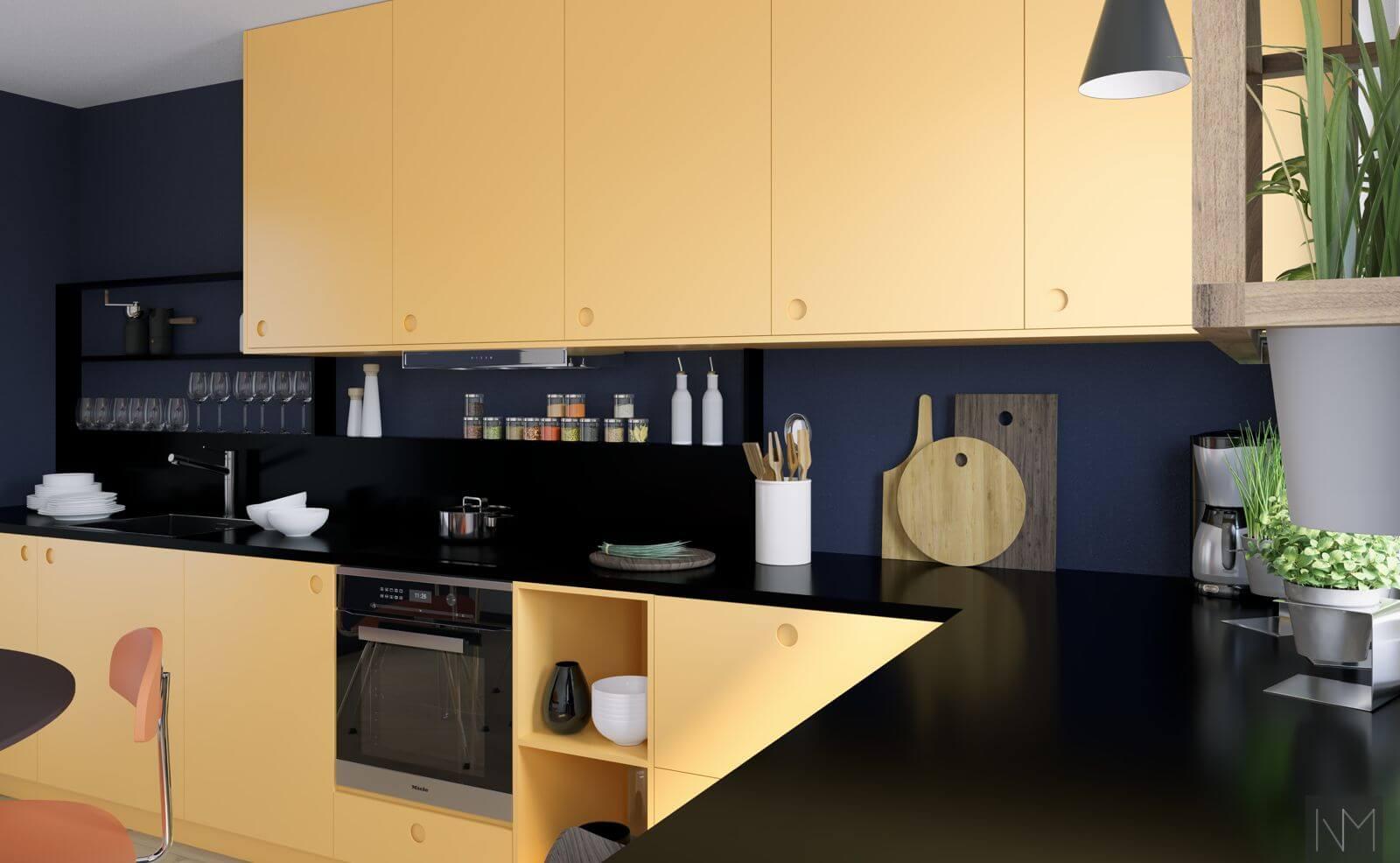 Kjøkkendører i design circle i fargen Farrow and Ball. Sudbury Yellow