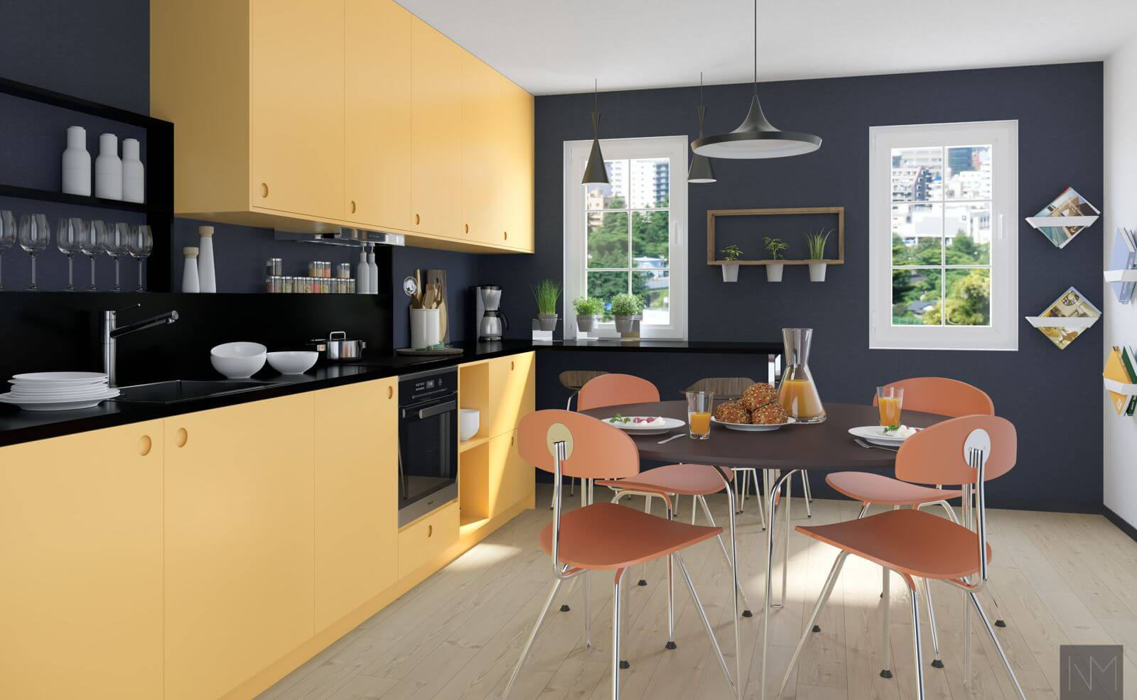 Kjøkkenfronter i design circle i fargen Farrow and Ball. Sudbury Yellow