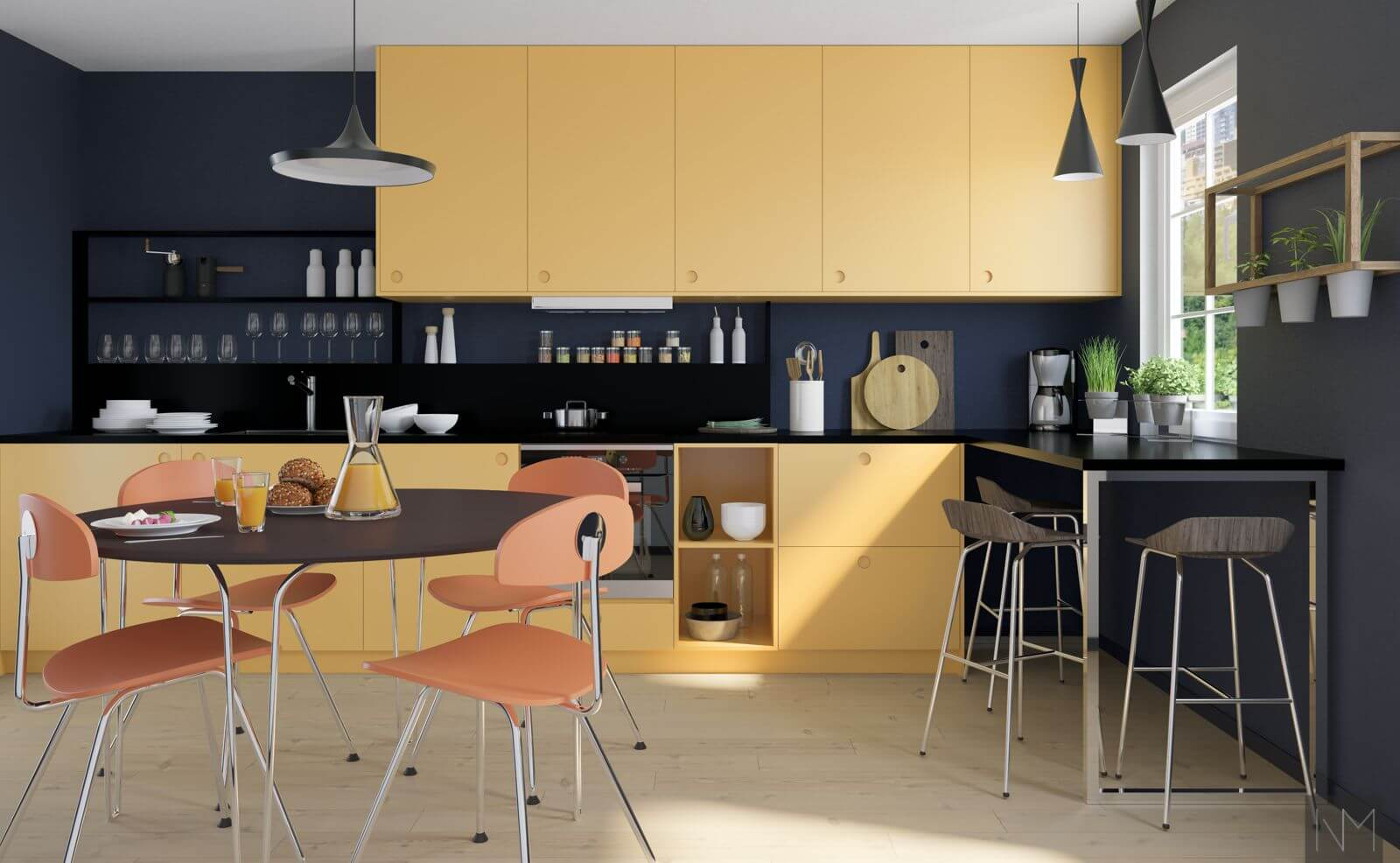 Kjøkkenfronter til metod i fargen Farrow and Ball. Sudbury Yellow