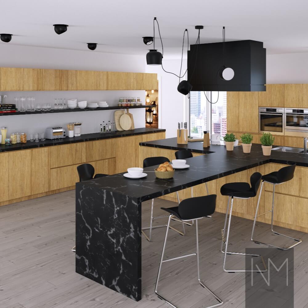 IKEA-kjøkken med mørke overflater