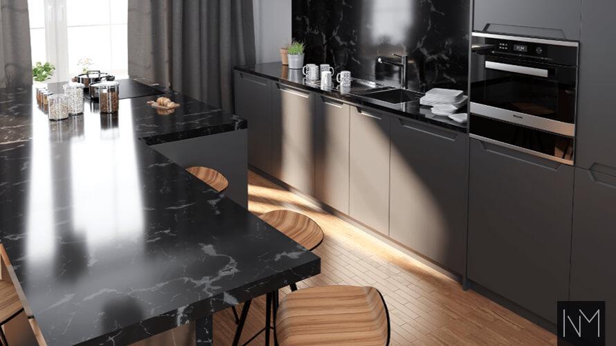 Moderne svart kjøkken