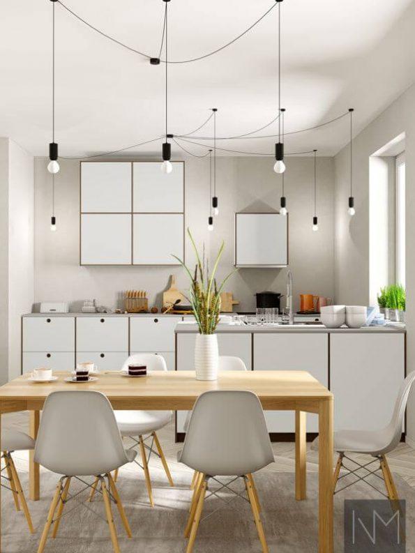 Dører til kjøkken i design Linoleum Circle og Basic. Farge på Linoleum 4175 Pebble, eik beiset i Valnøtt