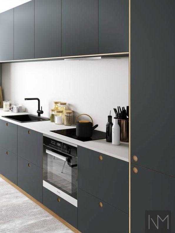 Fronter til kjøkken i Linoleum Basic og Circle design. Farge 4155 Pewter