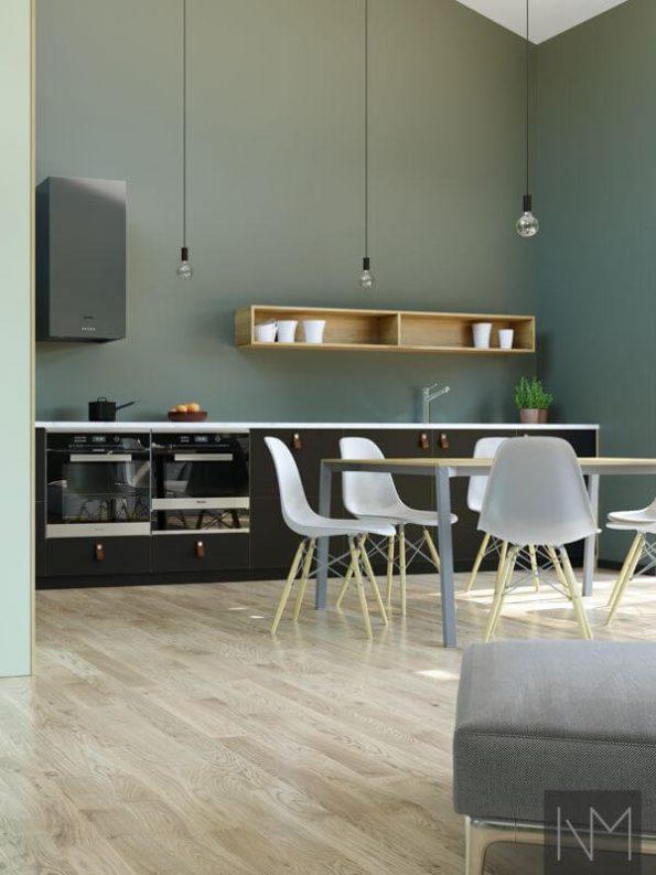 Kjøkken- og garderobedører i design Linoleum Basic. Farge Nero og Pistachio.