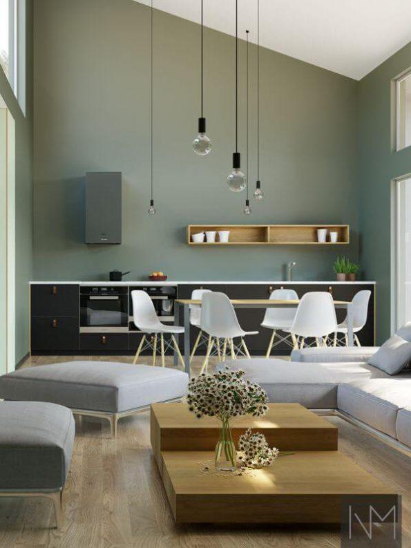 Kjøkken- og garderobefronter i design Linoleum Basic. Farge Nero og Pistachio.