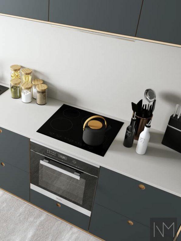 Kjøkkendører i Linoleum Basic og Circle design. Farge 4155 Pewter