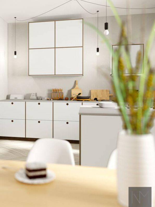Kjøkkendører i design Linoleum Circle og Basic. Farge på Linoleum 4175 Pebble, eik beiset i Valnøtt