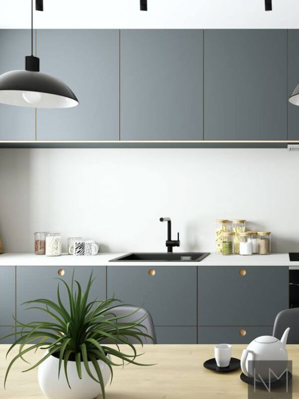Kjøkkenfronter i Linoleum Basic og Circle design. Farge 4155 Pewter