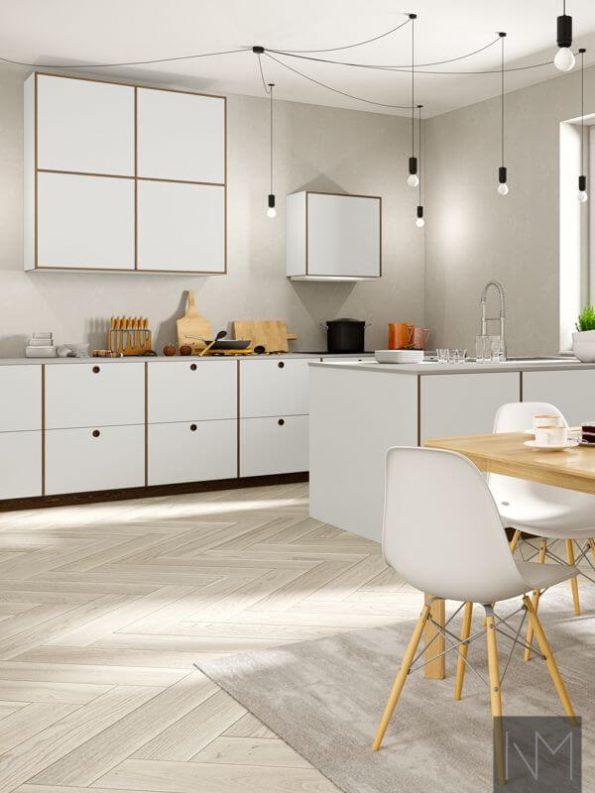 Kjøkkenfronter i design Linoleum Circle og Basic. Farge på Linoleum 4175 Pebble, eik beiset i Valnøtt