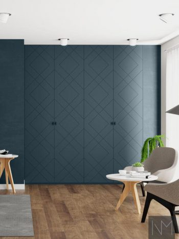 Garderobedører til PAX i Diamond design. Farge Farrow&Ball Hague Blue