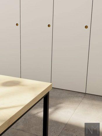 Garderobedører til PAX i Linoleum Circle design, Farge Mushroom.