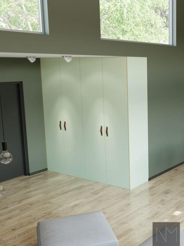Kjøkkenfronter og garderobedører i design Linoleum Basic. Farge Nero og Pistachio.
